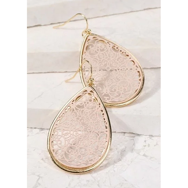 FILIGREE TEARDROP EARRINGS- NUDE