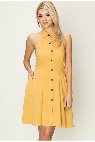 MUSTARD BUTTON FRONT DRESS