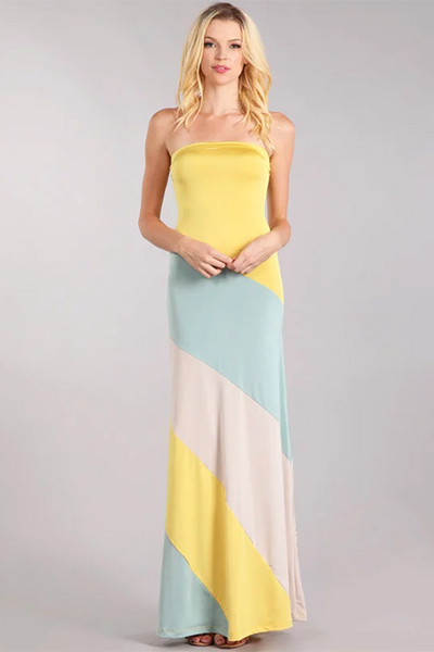 YELLOW STRAPLESS COLOR BLOCK DRESS