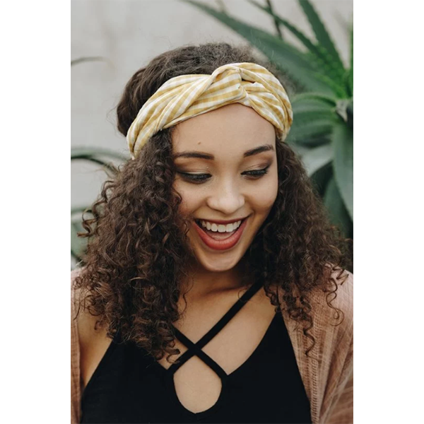 YELLOW CHECK HEADBAND