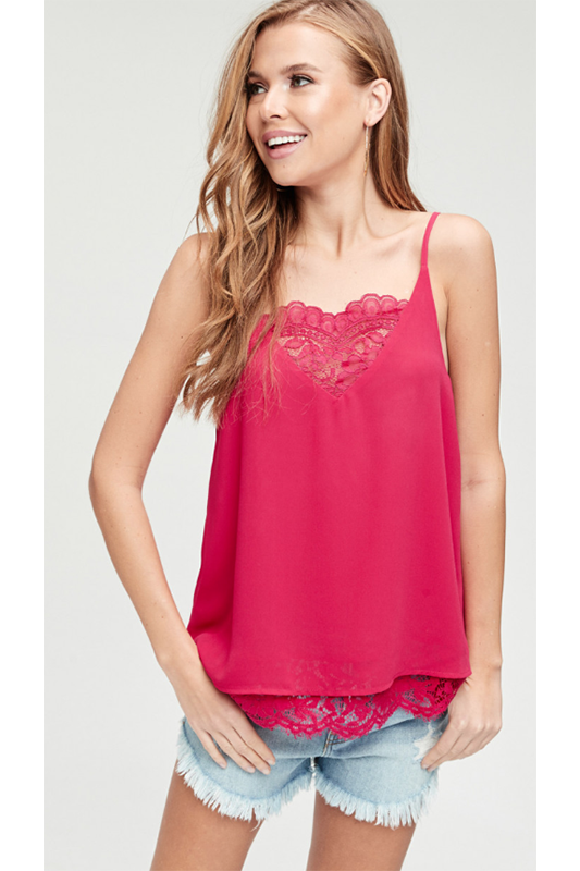 MAGENTA PINK LACE CAMI