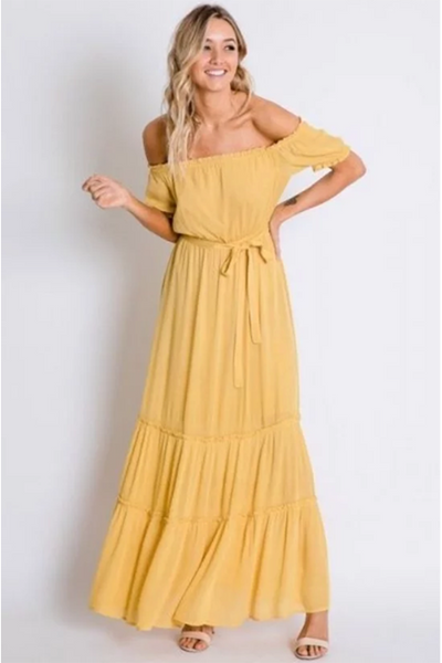 GOLDEN YELLOW OFF SHOULDER MAXI