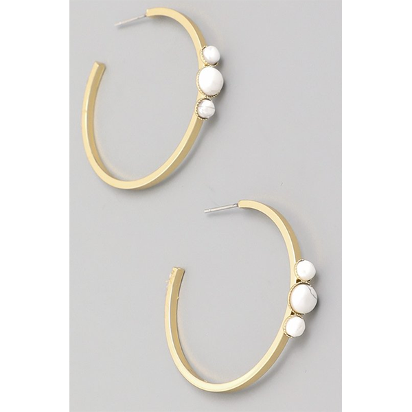 WHITE STONE GOLD HOOPS