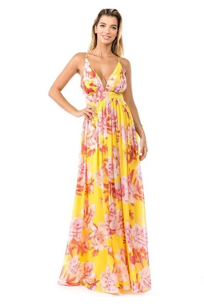 YELLOW FLORAL MULTI MAXI