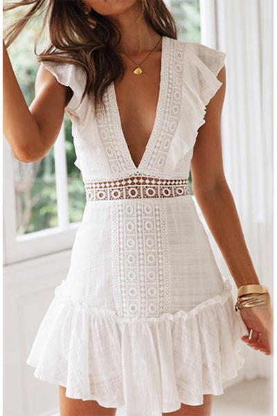 WHITE EMBROIDERY V NECK DRESS