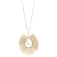 NATURAL ELONGATED FRINGE STONE NECKLACE