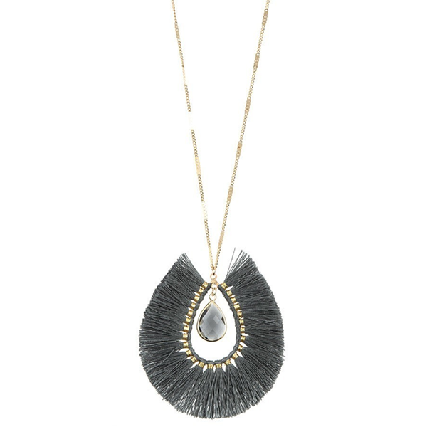 GREY ELONGATED FRINGE STONE NECKLACE
