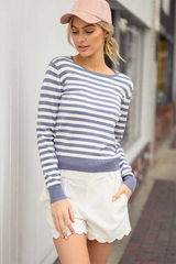 PERIWINKLE STRIPED KNIT TOP