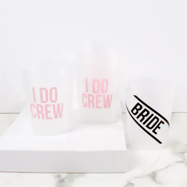 BRIDE CREW FROSTED CUPS