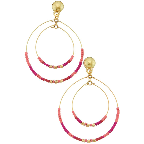 DOUBLE HOOP SEAD BEED EARRINGS- PINK