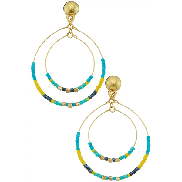 DOUBLE HOOP SEAD BEED EARRINGS- TURQUOISE
