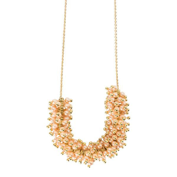 TALLULAH FLOATING PEARL NECKLACE- ROSE