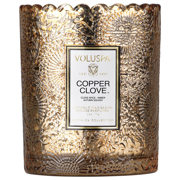 SCALLOPED EDGE CANDLE- COPPER CLOVE