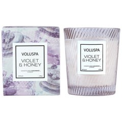 VIOLET AND HONEY CANDLE- TEXTURED GLASS