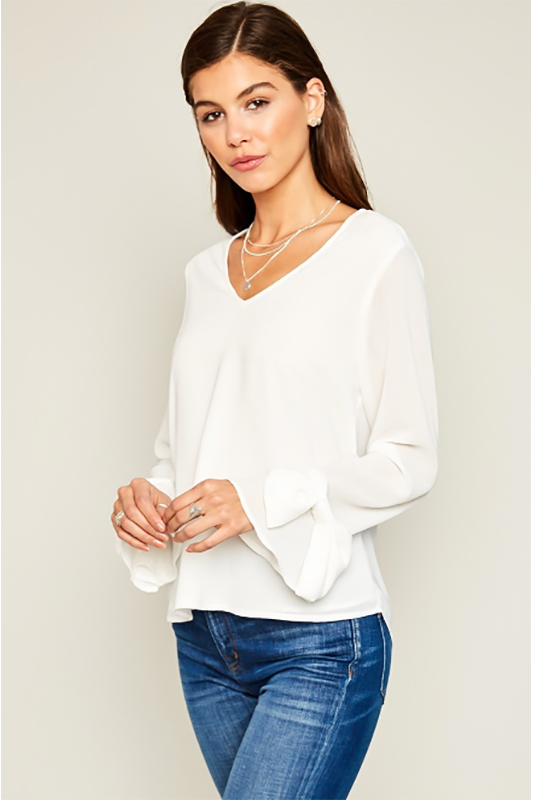 IVORY BOW DETAIL TOP
