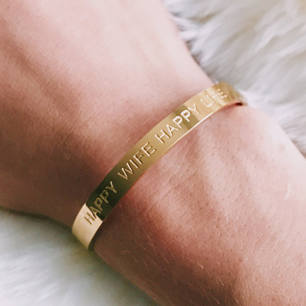 HAPPY WIFE CUFF- GOLD