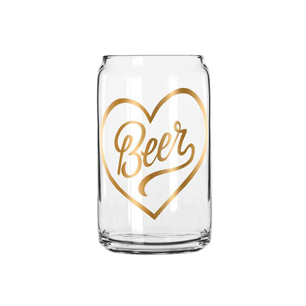beer glass with gold heart