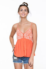 ORANGE EMBROIDERED CAMI TOP