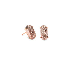 KENDRA SCOTT- BETTY EARRINGS IN ROSE GOLD IRIDESCENT DRUSY