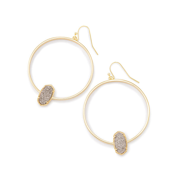 KENDRA SCOTT- ELORA EARRINGS IN PLATINUM DRUSY