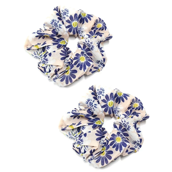 BLUSH AND BLUE FLORAL SCRUNCHIE