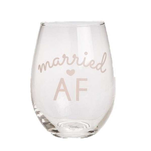 MARRIED AF WINE GLASS