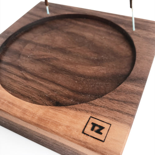 Walnut 5 x 5 candle holder and incense burner