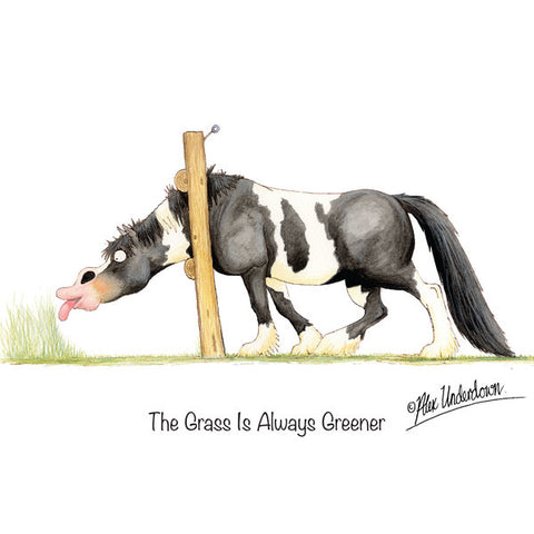 """The grass is always greener"" greeting card"