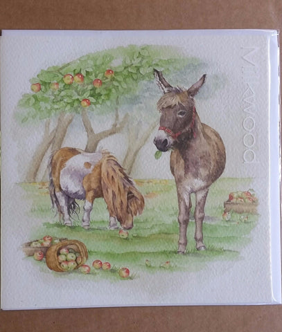 Card - Donkey, Shetland and Apples