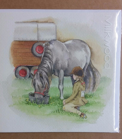 Card - Dark Grey Pony Eating Feed