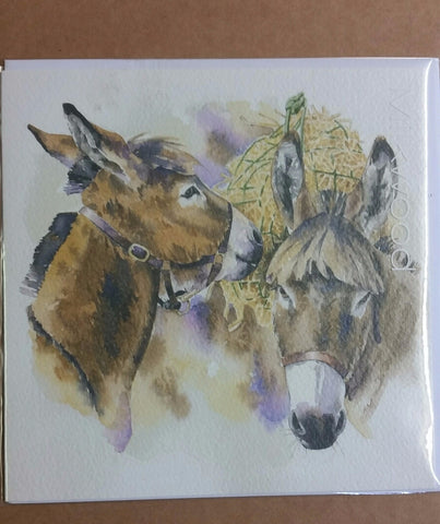 Card - 2 Donkeys Eating Hay