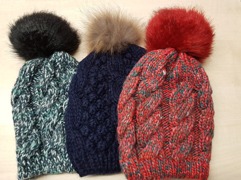 Cable Knit Faux Fur Pom Pom Hat