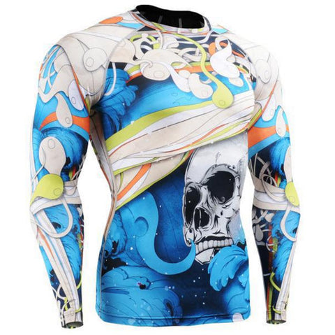 Blue Skull Long Sleeve Compression Gym Shirt