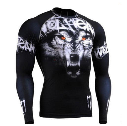 Lone Wolf Long Sleeve Compression Gym Shirt