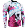 Pink Skull Long Sleeve Compression Gym Shirt