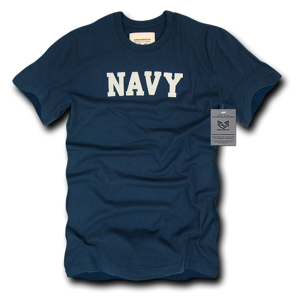 Navy Felt Applique Military Law T-Shirt
