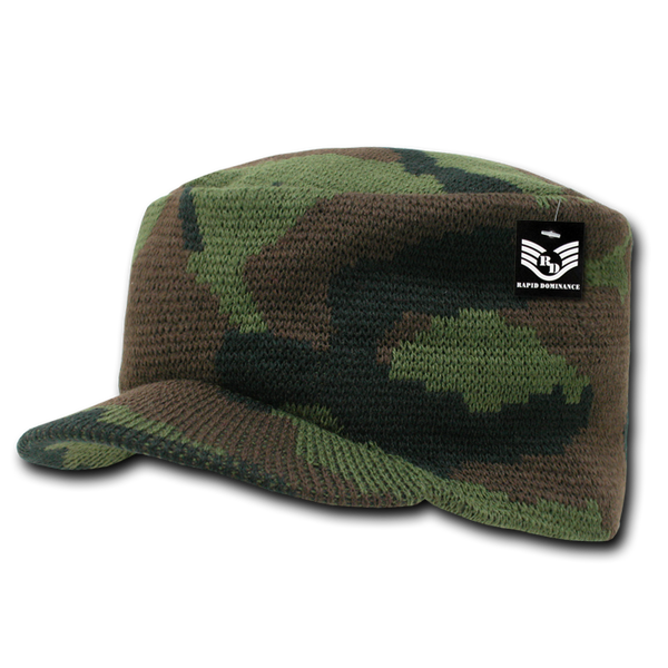 Camo Flat Top Jeep Caps, Woodland