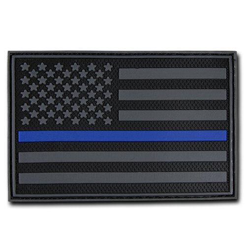"USA Thin Blue Line Rubber Patch (3""x2"")"