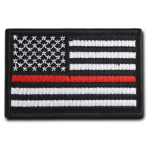 "USA Thin Red Line Canvas Patch (3""x2"")"