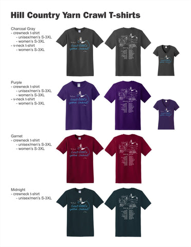 Hill Country Yarn Crawl t-shirt info