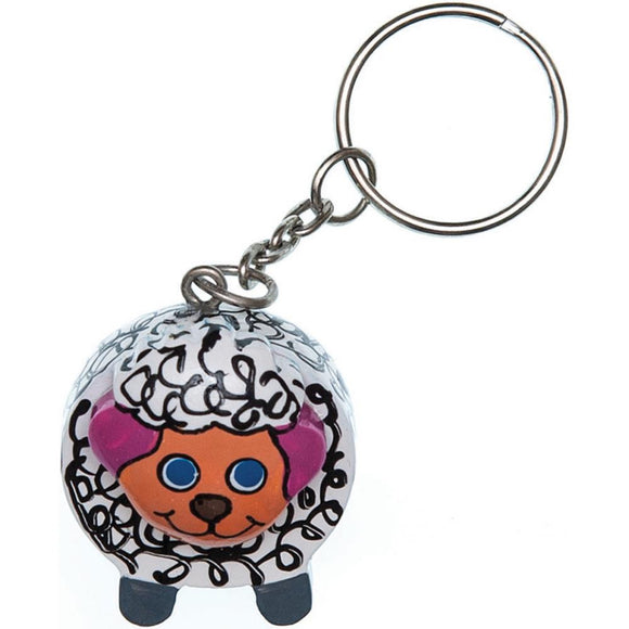 Buttons Etc Paradise Exotic Shawl Pin Sheep Keychain - Happy Ewe - 1