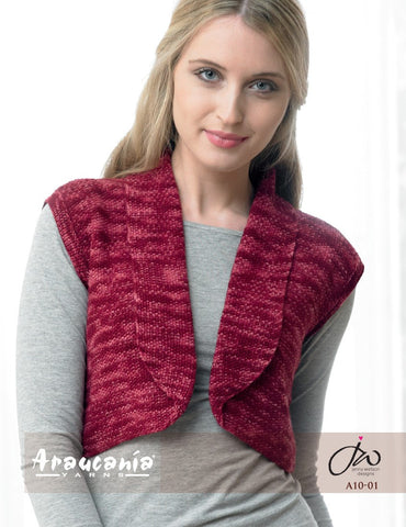 Araucania Yarns Huasco - Moss Stitch Bolero with Roll Back Collar - Happy Ewe