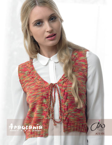 Araucania Yarns - Huasco DK - Edge-to-Edge Waistcoat with Cable Detail - Happy Ewe