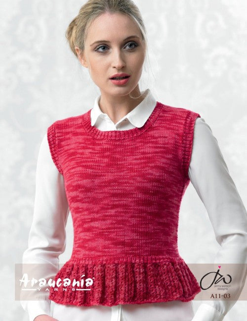 Araucania Yarns - Huasco DK - Ladies Top with Lace Peplum - Happy Ewe