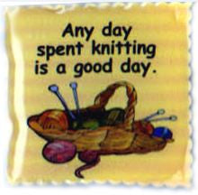 "Cedar Creek Quilt Design Pin - ""Any day spent knitting is a good day."" - Happy Ewe"