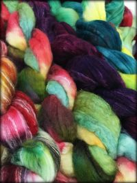 Frabjous Fibers Hand Dyed Top: Organic Polwarth & Tussah Silk 4 oz