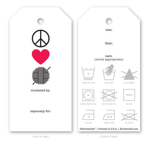 Knitterella Peace Love Crochet Gift Tags G15 - Happy Ewe