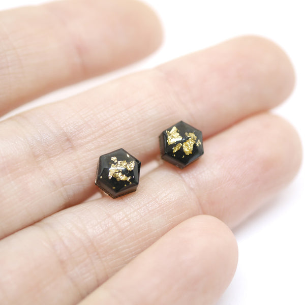 Set of 3 Tiny Geometric Studs – Gold