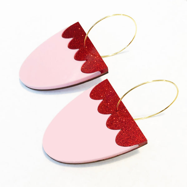 Colour Block Scallop Curve Earrings