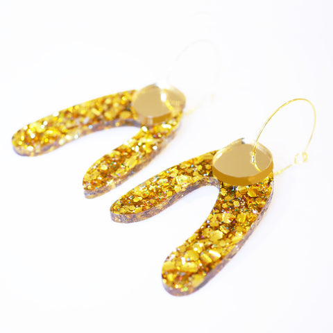 Super Sparkle Arch Earrings – Chunky Gold Rainbow
